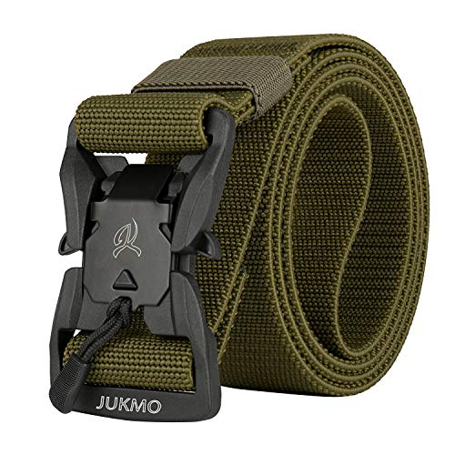 JUKMO Tactical Belt, Military Rigger 1.5'' Nylon Web Duty Work Belt with Magnetic Quick Release Buckle (Army Green, Small)