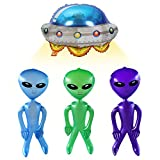 YBB 4 Pack Alien Inflatable Toys 36 Inch with UFO Foil Balloon, Novelty Large Size Martian Aliens Prop Toy Decorations for Birthday Halloween Party Favors (Green, Blue, Purple))