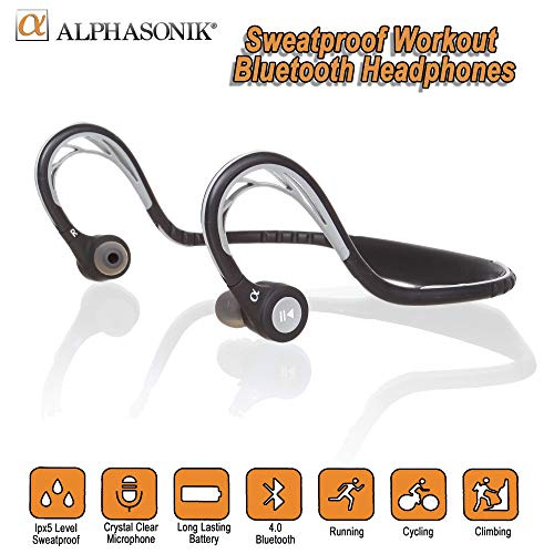Alphasonik ASE300BT Bluetooth Headphones, V4.0 Wireless Sport...