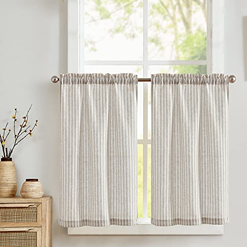 COLLACT Kitchen Curtains Linen Curtains 24 Inch Length Sets Striped Pattern Grey Tiers Window Treatment for Bathroom Farmhouse Country Rustic Rod Pocket Half Window Curtains 2 Panels Gray on Beige