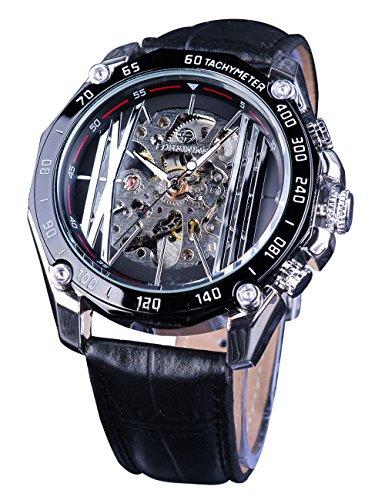 Forsining Hombres Racing Sports mecánico Relojes Creative Negro Esqueleto Gear Movimiento