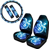 PZZ BEACH Boho Trippy Style Blue Sea Turtle Breathable Car Seat Covers/Steering Wheel Cover/Seat Belt Pads, 5 Pcs Full Set Automotive Interior Decor Accessories