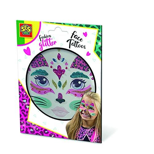 SES Creative- Tatuajes Fashion para la Cara-Gatos Maquillaje Infantil, Multicolor (14146)
