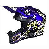 Casque de Motocross/Casque intégral de vélo de Montagne/Casque de Tout-Terrain compétition Adulte (Motif Bleu + tête de Mort),S