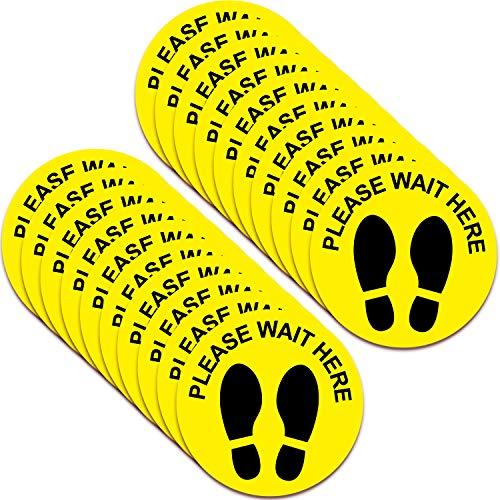 20 Pegatinas de Piso de Distancia Social Marcador de Aparte de Pies de Parada Extraíbles Señal de Distancia de Seguridad Etiqueta de Huella de Please Wait Here para Supermercado, 8 Pulgadas (Amarillo)