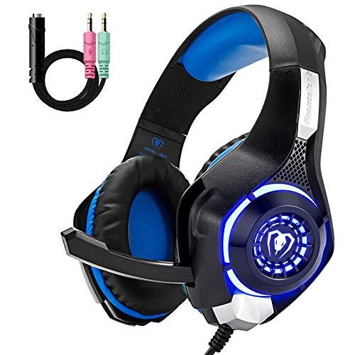 Gaming-Headset für PS4, Xbox One, Komfort-Rauschunterdrückung, Kristallklarheit, 3,5 mm LED, professioneller Kopfhörer mit Mikrofon für PC, Laptop, Tablet, Mac, Smartphone