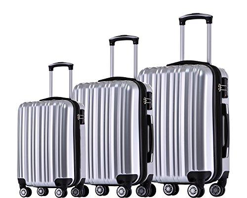 Münicase TSA-Schloß Koffer Reisekoffer Trolley Kofferset (Silber, 3tlg. Kofferset)