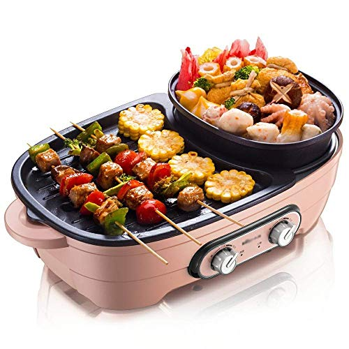 grills with pans SMLZV 3-in-1 Indoor Grill Pan,Korean Traditional BBQ Grill Pan - Nonstick Indoor/Outdoor Smokeless BBQ Cast Grill Pan