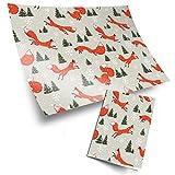 4 x papel de regalo de 70 x 50 cm Eco-Impreso | Invierno Ginger Fox Navidad árbol de nieve tema |...