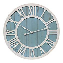 YIDIE 32 inch Large Wall Clock Roman Numeral Decorative Clocks for Farmhouse Living Room,Blue&White