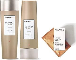 GOLDWELL KERASILK CONTROL Shampoo 8.4oz & Conditioner 6.7oz DUO (2 FREE Hair & Skin Care Samples)
