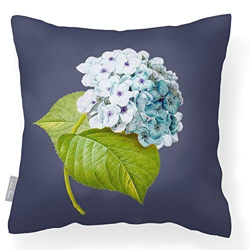 Izabela Peters Outdoor Garden Cushion Waterproof - Graphite - Vintage Hydrangea - Breathable Fabric - Lakeland Collection - Designed, Printed & Handmade In The UK
