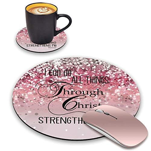 BWOOLL Round Mouse Pad and Coasters Set, Pink Glitter Mousepad, Inspirational Quotes Christian Bible Verse Phil 4-13 Mousepad, Non-Slip Rubber Base Mouse Pads for Laptop and Computer
