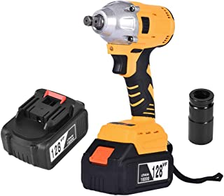 """Electric Cordless Impact Wrench1/2"""" & 128V 460 N.M Torque, Portable 16000mAh Car Impact Wrench Kit with Sleeve and Carry Case Tire Repair Tools by Mostbet (Yellow)"""