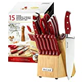 McCook MC24 14 Pieces Stainless Steel Kitchen Knife Sets with Wooden Block, Kitchen Scissors and...