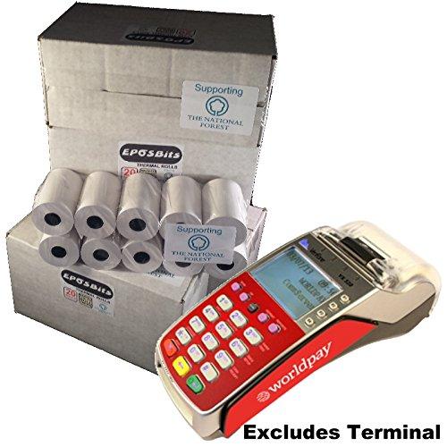 eposbits® Merk full size grote rollen op pasvorm worldpay rood VX520 VX 520 creditcard terminal 80 rollen (chip & pin).