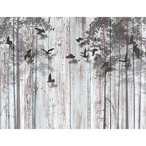 Fototapeten Abstrakt Holzoptik 352 x 250 cm Vlies Wand Tapete Wohnzimmer Schlafzimmer Büro Flur Dekoration Wandbilder XXL Moderne Wanddeko - 100% MADE IN GERMANY -Vogel Grau Runa Tapeten 9104011a