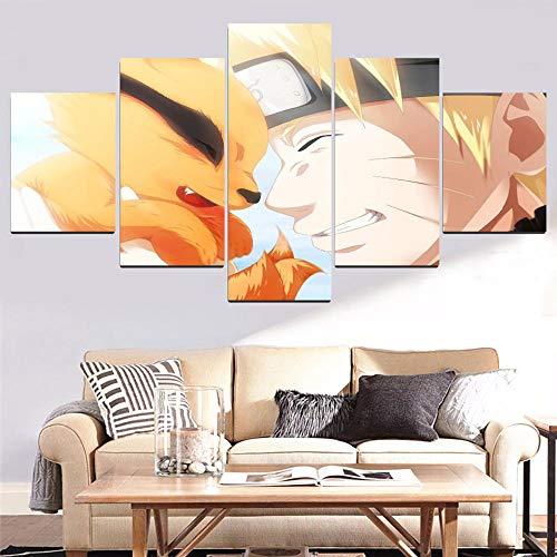 Siluyu Leinwanddrucke, 3D 5 Panel Gemälde,Wand-Kunst,Größe:150 * 80Cm,Artikel:Naruto Und Neunschwänziger Fuchs