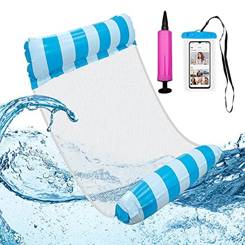 Bililike Wasser Hängematte, Luftmatratze Pool, Wassermatratze Inklusive Luftpumpe, Pool Zubehör Spaß Erwachsene 4-in-1- Erwachsene Pool Stuhl Aufblasbare Schwimmende Strand-Liege