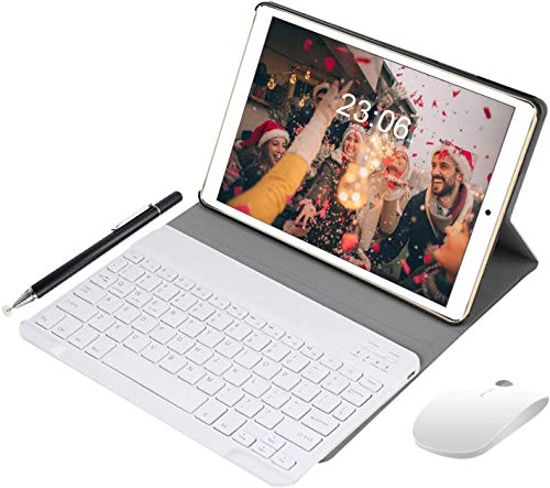 2 in 1 Tablet Android 8.1 10 Inch, Tablet PC with Wireless Bluetooth Keyboard Case, Tablet Cases with Pencil 3GB RAM 64GB ROM, Dual SIM Quad Core 1.5Ghz, Dual Camera 5MP + 8MP (Gold)