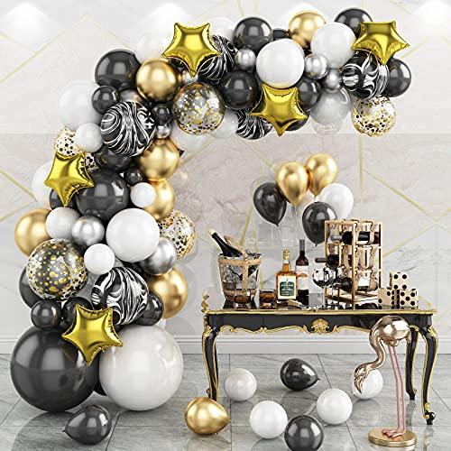 Kit Arco Palloncini Neri Oro, 89 pezzi Palloncini Compleanno Oro Nero, Palloncini Metallizzati Argento Dorato per La Festa Compleanno, Laurea Docce Bambini, Decorazioni Feste Halloween