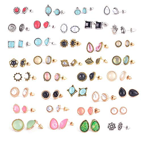 36 Pairs Boho Stud Earrings Earrings Set for Women Hypoallergenic Fashion Earrings for Girls Vintage Bohemian Assorted Earrings Best Friends Gifts (Style 01)