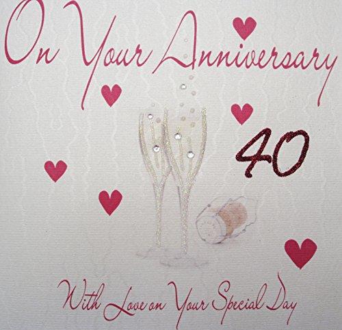 White Cotton Cards wenskaart voor de 40e verjaardag, handgemaakt, opschrift