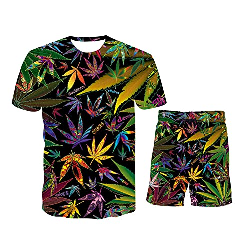 Men Sets Fashion Casual 2-Piece Set Short Sleeves and Shorts 3D Hawaiian Printing Beach Male Suit 2021-TK477-XL