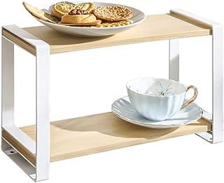 LLRYN Wooden Shelf Organizer Kitchen Bathroom Storage Rack 2 Tier Display Book Shelves Buffet Seasoning Jars Cups Holder