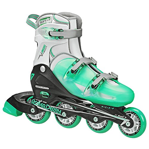 Roller Derby Women's V-Tech 500 Button Adjustable Inline Skate, Grey/Purple