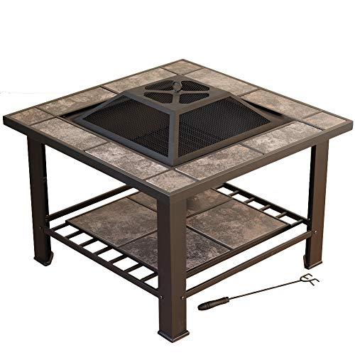 AMAIRS Feuerstelle für den Außenbereich, Grilltisch, Holzkohle-Grill, Heizung, Feuerschale, Innenbereich, Urlaub, Party, Grilltisch