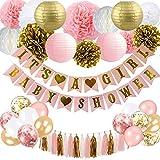 SZHUIHER Baby Shower Dekorationen für Mädchen - Pink und Gold Baby Shower Dekoration Es ist EIN Mädchen & Baby Shower Banner mit Papierlaterne Pompoms Blumen Honeycomb Ballons Folie Quaste
