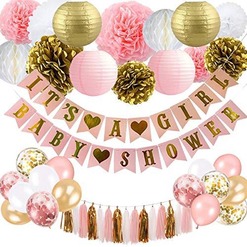 Baby Shower Dekorationen für Mädchen - Pink und Gold Baby Shower Dekoration Es ist EIN Mädchen & Baby Shower Banner mit Papierlaterne Pompoms Blumen Honeycomb Ballons Folie Quaste
