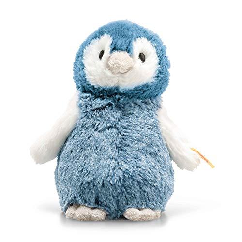"""Steiff 63923 Original Plüschtier Pinguin Soft Cuddly Friends Paule, Kuscheltier ca. 14 cm, Markenplüsch Knopf im Ohr"""", Schmusefreund für Babys von Geburt an, blau, weiß"""
