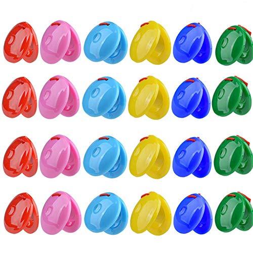 24PCS Finger Colorido Castañuelas Castañuelas Finger Mini Castanet Juguete niños Juguete Musical