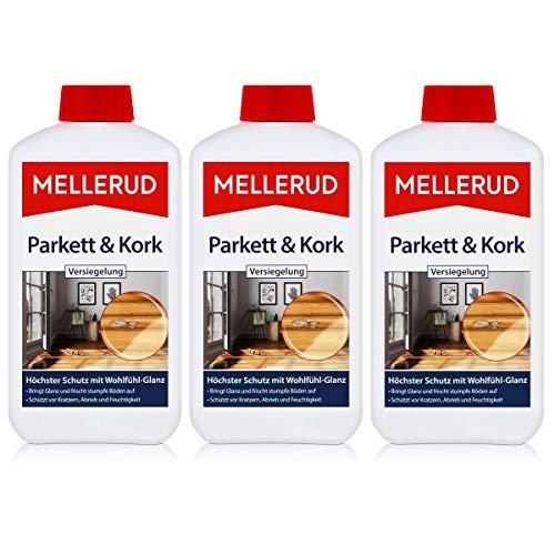 Mellerud Parkett & Kork Versiegelung 1L - Bringt Glanz und frischt stumpfe Böden auf - Schützt vor Kratzern, Abrieb und Feuchtigkeit (3er Pack)