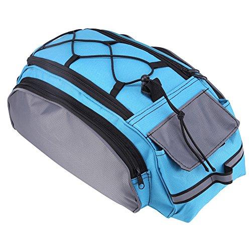 OSISTER7 Bolsa de transporte trasero para bicicleta, bolsa para asiento trasero de bicicleta, bolsa portaequipajes impermeable, bolsa de hombro con correa ajustable para actividades al aire libre, gris/azul