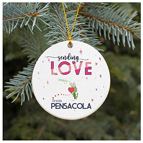 Christmas Ornaments Tree Decorations 2020 With Name City Pensacola Florida Long Distance Relationships Gifts Xmas Gift Ideas Ornament Ceramic 3' White for Family Best Friend