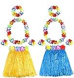 Los Conjuntos de Faldas Hula de Hierba Hawaiana Incluyen Collar de Flores Leis Diadema Pulseras Faldas Luau Para Disfraces de Hawaii Suministros de Fiesta de Cumpleaños Luau Tropical (2 juegos)