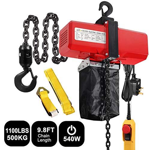 PARTSAM Paranco a catena elettrico 500KG 1100Lbs 3m - 0.5T G80 paranco a sollevamento elettrico - 230V 540W con controllo Verricello elettrico Argani elettrici Per officine domestica del negozio