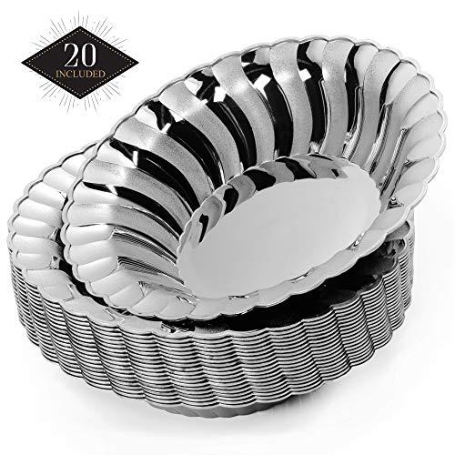 20 Plastik Einweg Schüssel, Elegantes Silber, 18,5 cm   Stabile & Wiederverwendbar  Suppenschüssel Einwegschalen Einweggeschirr  für Geburtstage Partys Hochzeiten Brautduschen Babypartys.