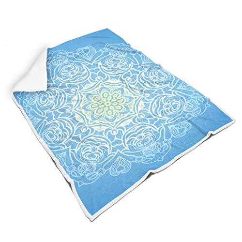 O5KFD&8 Blanket Blaue Mandela Gemustert Drucken Prämie Riese Throws Wrap Robe - Mandela Art Super Comfort Geeignet für Erwachsene/Frauen/Männer Verwenden White 130x150cm