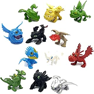 Dragon Toys Mini Figures - Action Figures 12 pcs - How to Train Your Dragon 12pcs/Set 5-6.5cm PVC Action Figures Toy Doll Night Fury Toothless Dragon – Cake Topper
