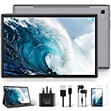 Android 10 Tablet, YESTEL 10 Inch Tablets (GMS Certified ) Ultra-Portable Dual 4G LTE 5G WI-FI Support|64GB ROM(4-128GB Expansion)|1.6 GHz|Octa-Core|1920*1200 FHD Screen|6000 mAh|Face ID Phablet-Grey