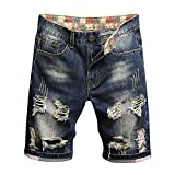 Chejarity Pantalones vaqueros cortos para hombre, pantalones cortos, para verano, tiempo libre, bermudas rectas azul-2 Talla única