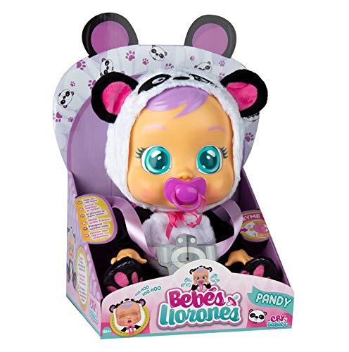 Bebés Llorones Pandy - Muñeca interactiva que llora de verdad con chupete y...