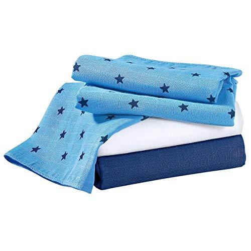 Bornino Lot de 3 langes en gaze 80 x 80 cm couche en tissu, bleu/blanc