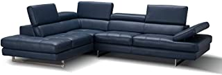 A761 Italian Leather Left Facing Sectional Sofa in Blue