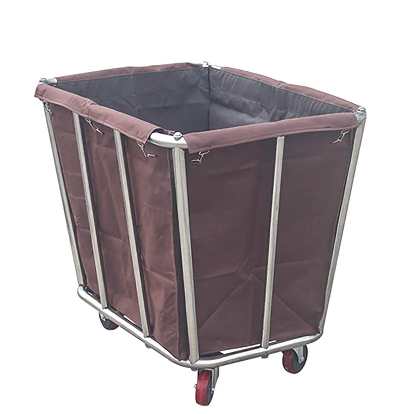 思われる三正しいホテルの洗濯の選別機のカート、リネンカーバッグおよび圧延車輪が付いている多目的のクリーニングのトロリー、ステンレス鋼ブラケット (Color : Brown)