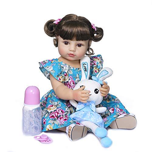 Zero Pam Reborn Baby Dolls Silicona muñeca anatómica Correcta para el Cuerpo Completo con Conjunto de 6 Piezas y Juguetes de Conejo